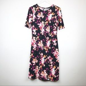 Apt 9 Black & Pink Floral Knit Dress size Med J11